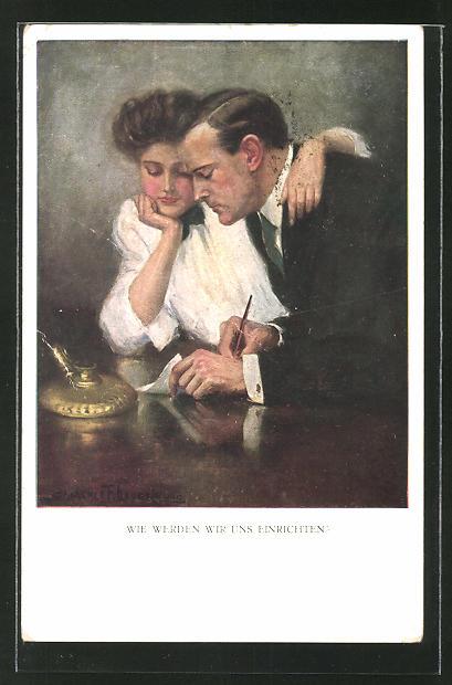 Künstler-AK Clarence F. Underwood: Wie werden wir uns einrichten?, junges Paar