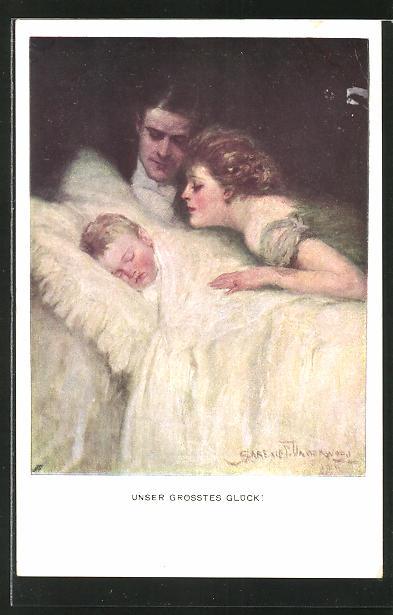 Künstler-AK Clarence F. Underwood: Unser grösstes Glück, junge Familie