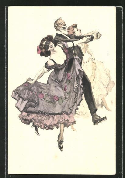 Künstler-AK Simplicissimus: Elegante Abendgesellschaft beim Tanz
