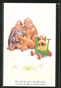 Künstler-AK Lawson Wood: Affenpaar mit Nachwuchs im Spielzeugauto, vermenschlichte Tiere