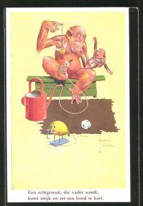 Künstler-AK Lawson Wood: Affenvater versucht seinen Sprössling zu beruhigen, vermenschlichte Tiere