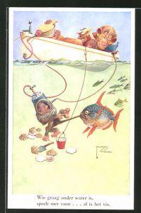 Künstler-AK Lawson Wood: Grosser Affe im Boot lässt kleineren für sich nach Muscheln tauchen, vermenschlichte Tiere