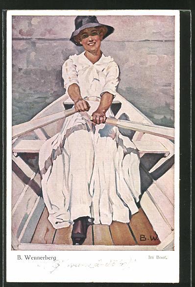 Künstler-AK Brynolf Wennerberg: Schöne Frau im Ruderboot