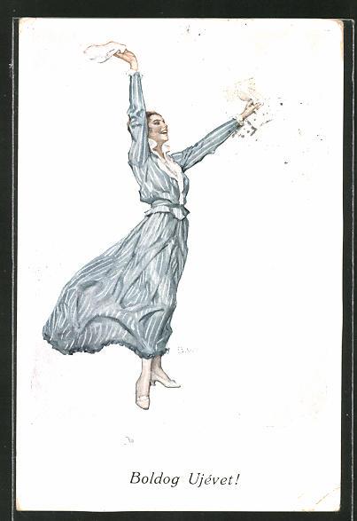 Künstler-AK Brynolf Wennerberg: Frau winkt grüssend mit Taschentüchern