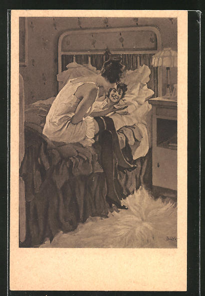 Künstler-AK Brynolf Wennerberg: Freundinnen in Unterwäsche unterhalten sich am Bett