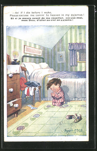 Künstler-AK Donald McGill: Kleiner Junge betet vor dem Schlafengehen