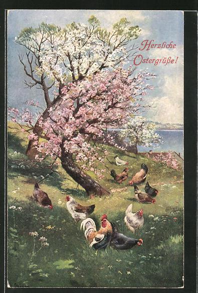 Künstler-AK Alfred Schönian: Ostergrüsse, Hühner auf einer Wiese
