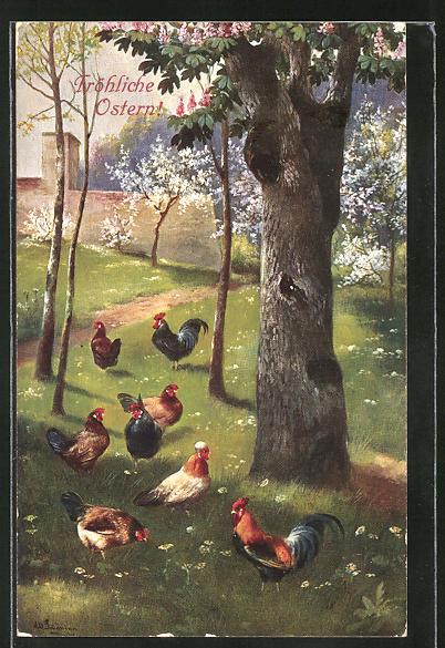 Künstler-AK Alfred Schönian: Ostergrüsse, Hühner auf einer blühenden Baumwiese