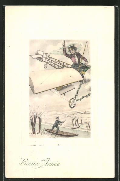 AK Neujahrsgruss, Frau grüsst aus einem Flugzeug