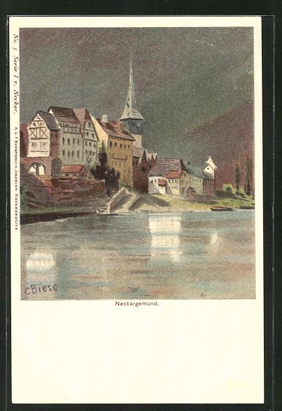 Künstler-AK Carl Biese: Neckargemünd, Blick vom Neckar zum Kirchturm