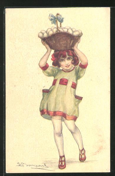 Künstler-AK Sergio Bompard: Mädchen mit einem Korb voller Eier