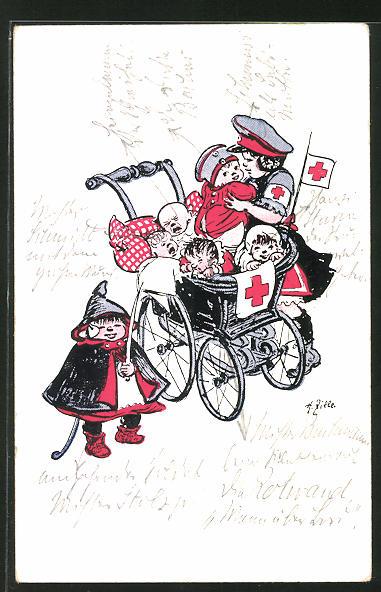 Künstler-AK Heinrich Zille: Kinder spielen Sanitäter