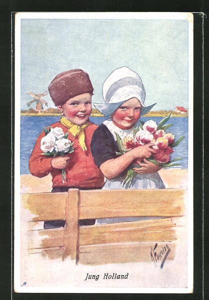 Künstler-AK Karl Feiertag: Jung Holland, Kleines Paar in Tracht mit Blumen