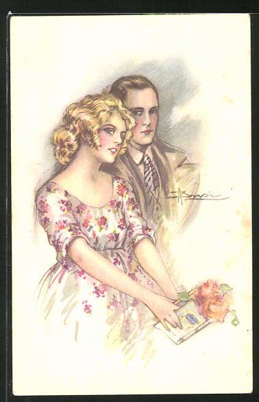 Künstler-AK Adolfo Busi: Paar mit Blumen und Glückwünschen