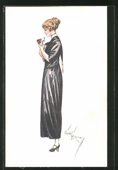 Künstler-AK Court Barber: Junge Frau im schwarzen Kleid mit Terrier auf dem Arm