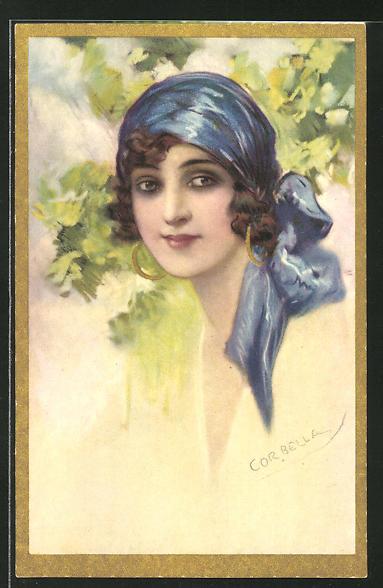 Künstler-AK Tito Corbella: Schöne Frau mit blauem Kopftuch und Ohrringen