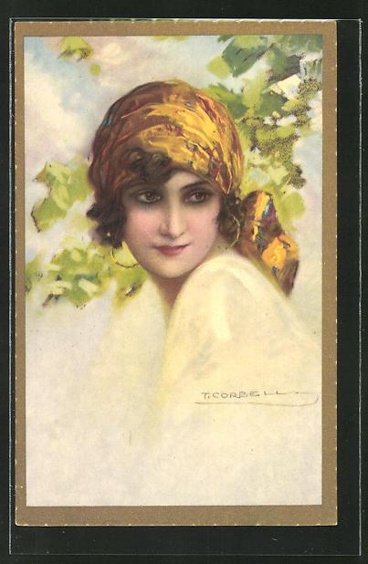 Künstler-AK Tito Corbella: Schöne Frau mit gelbem Kopftuch und Ohrringen