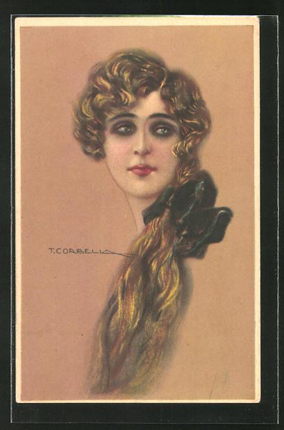 Künstler-AK Tito Corbella: Portrait einer schönen jungen Frau mit langem blondem Haar