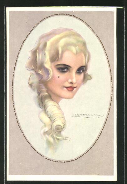 Künstler-AK Tito Corbella: Portrait einer schönen Frau mit hellem Haar