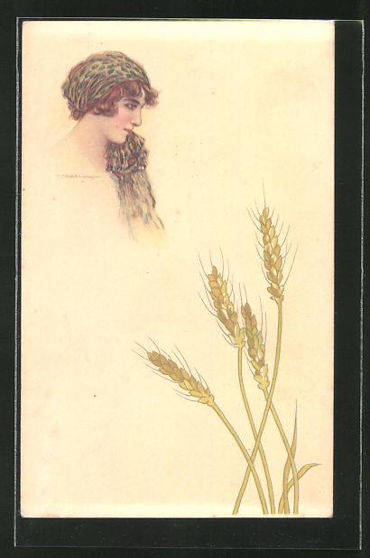 Künstler-AK Tito Corbella: Portrait einer schönen jungen Frau mit Kopftuch, Getreide