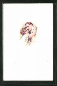 Künstler-AK Tito Corbella: Junge Frau umarmt den Liebsten