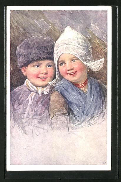 Künstler-AK Karl Feiertag: Kleines Holländer Paar