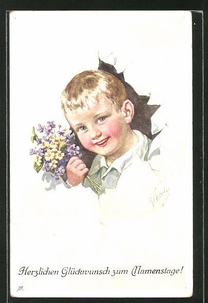 Künstler-AK Karl Feiertag: Kleiner Gratulant mit Blumenstrauss