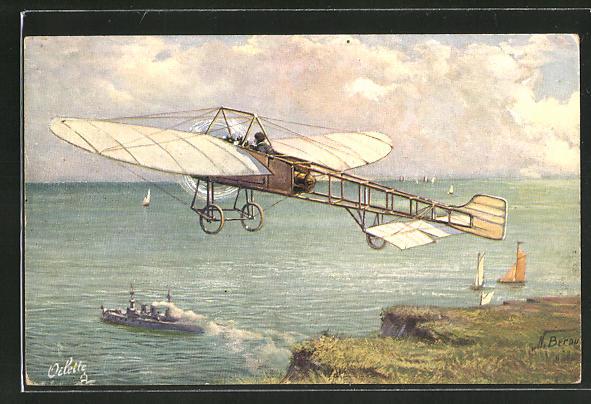Künstler-AK Aeroplan Bleriot, Flugzeug über einer Küste