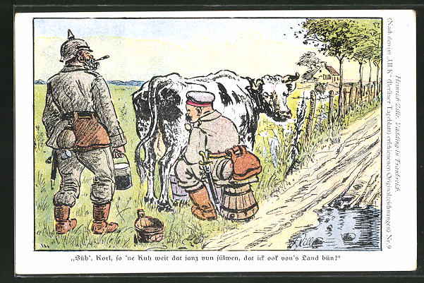 Künstler-AK Heinrich Zille: Soldaten melken eine Kuh
