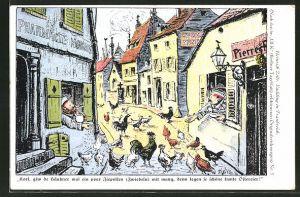 Künstler-AK Heinrich Zille: Soldaten füttern die Hühner mit Zwiebeln