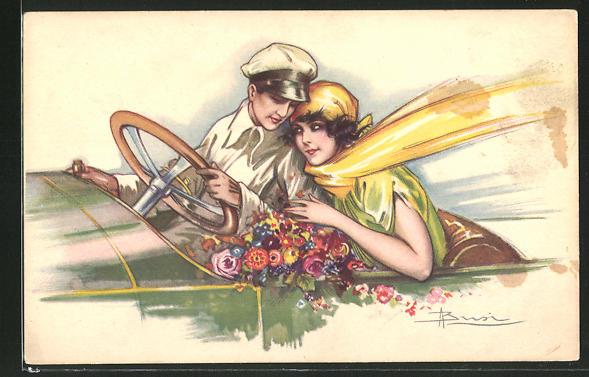 Künstler-AK Adolfo Busi: Glückliches Paar im Auto 0