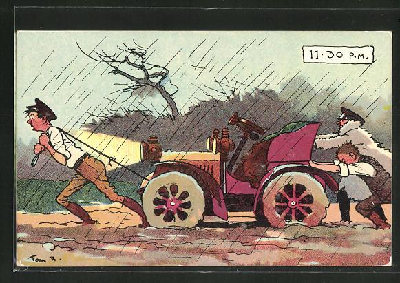 Künstler-AK Tom Browne: Abschleppen des Automobils auf schlammiger Strasse