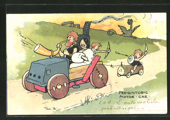Künstler-AK Tom Browne: Pre-Historic Motor Car, Steinzeit-Auto