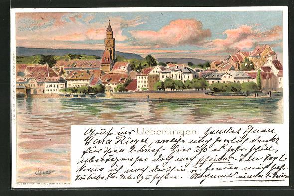 Künstler-AK Carl Biese: Ueberlingen, Panoramablick auf den Ort