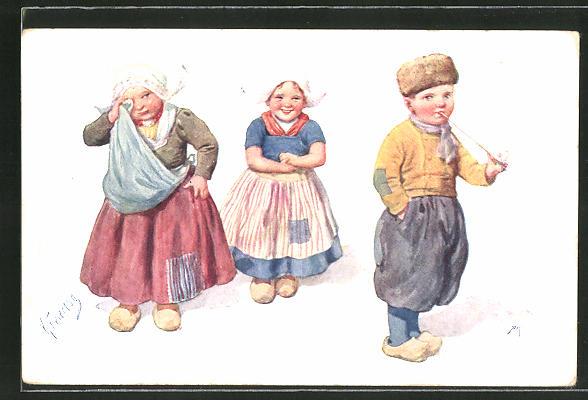 Künstler-AK Karl Feiertag: Zerstrittenes kleines Holländer-Paar 0