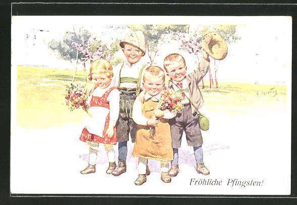 Künstler-AK Karl Feiertag: Kinder wünschen fröhliche Pfingsten 0