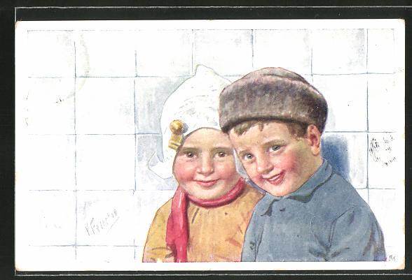 Künstler-AK Karl Feiertag: Kleines Paar in holländischer Tracht 0