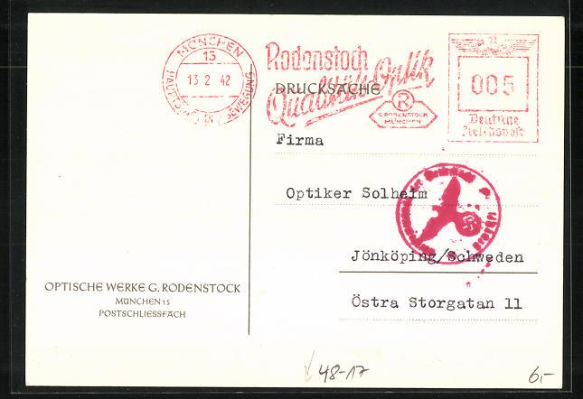 AK München, Optische Werke G. Rodenstock, Ankündigung eines Vertreters 1