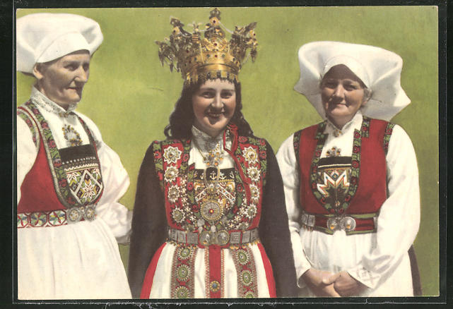 AK Hardanger, Kone- og Brudedrakt, norwegische Frauen in Tracht
