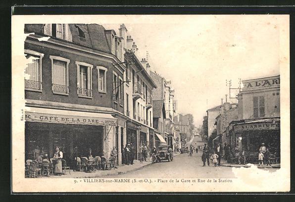 AK Villiers-dur-Marne, Place de la Gare et Rue de la Station 0