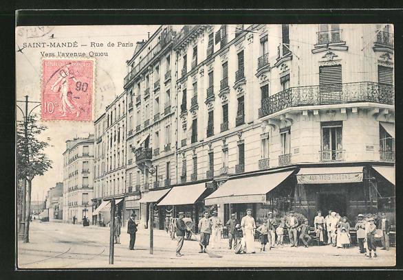 AK Saint-Mande, Rue de Paris, Vers l'avenue Quiou 0