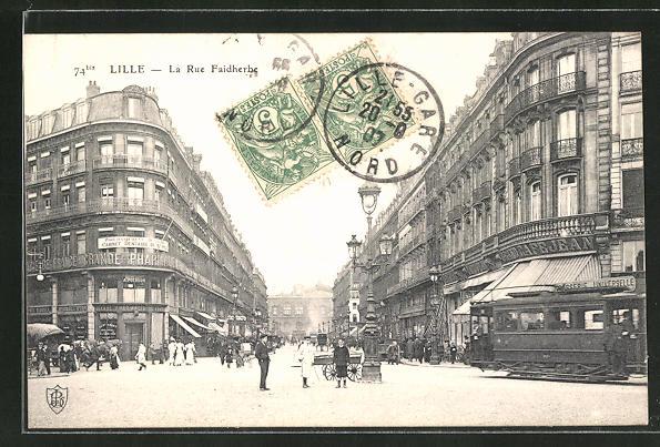 AK Lille, La Rue Faidherbe, Strassenbahn 0
