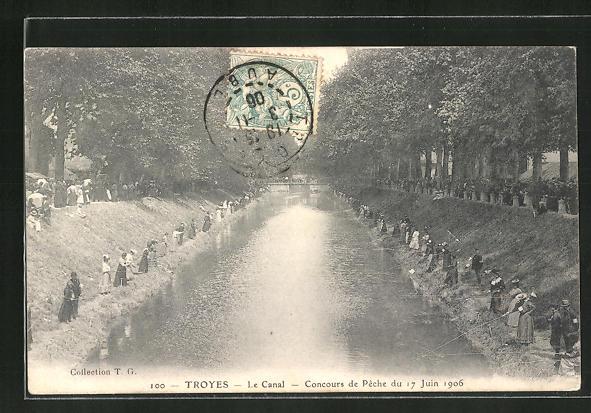 AK Troyes, Le Canal, Concours de Peche du 17 Juin 1906