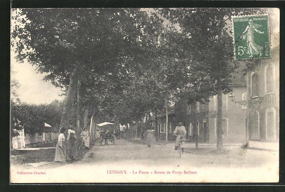 AK Lusigny, La Poste, Route de Paris-Belfort 0