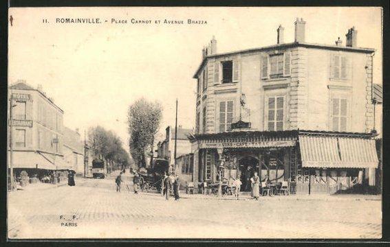 AK Romainville, Place Carnot et Avenue Brazza 0
