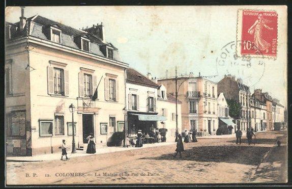 AK Colombes, La Mairie et la rue de Paris 0