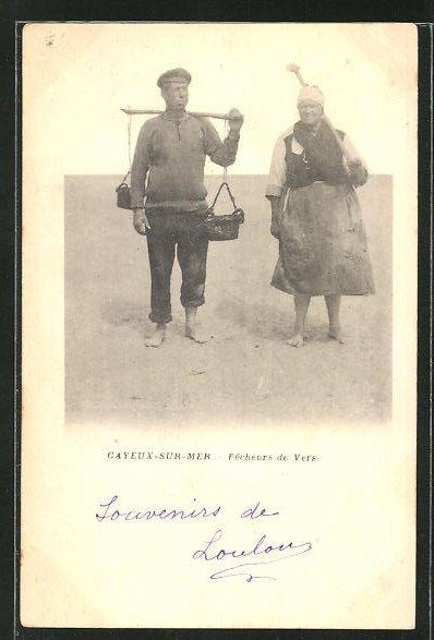 Leporello-AK Gayeux-sur-Mer, Pecheurs de Vers, Fischer am Strand 0