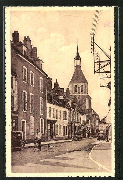 AK Brienon-sur-Armancon, La Grande Rue, Strassenpartie mit Kirche