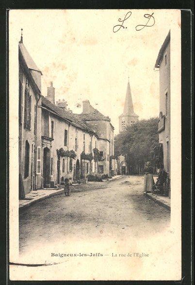 AK Baigneux-les-Juifs, La Rue de l'Eglise, Kirche