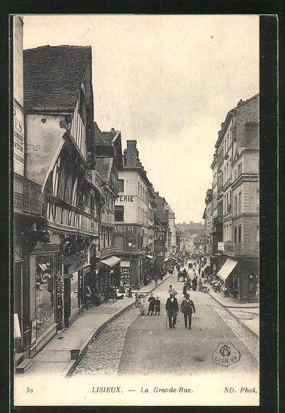 AK Lisieux, La Grand-Rue, Bäcker, Strassenpartie 0